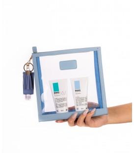 Basix Blue Leather Cosmetics Bag Gift Set