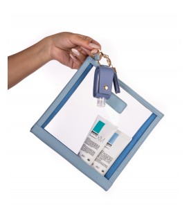 Blue Leather Cosmetic Case Gift Pack